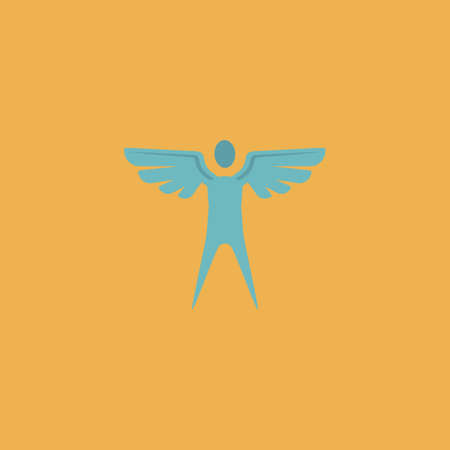icarus: Winged man. Colorful vector icon. Simple retro color modern illustration pictogram. Collection concept symbol for infographic project