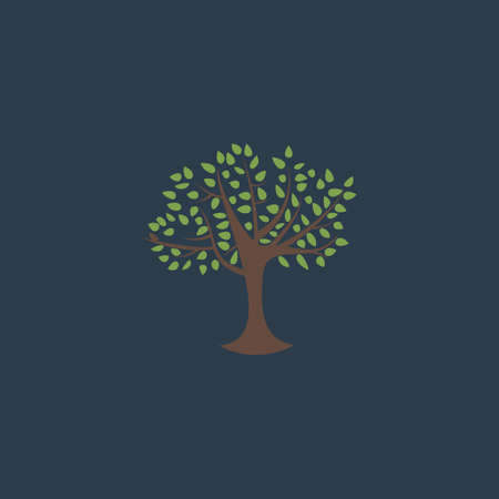 tree symbol: Decorative simple tree. Colorful vector icon. Simple retro color modern illustration pictogram. Collection concept symbol for infographic project
