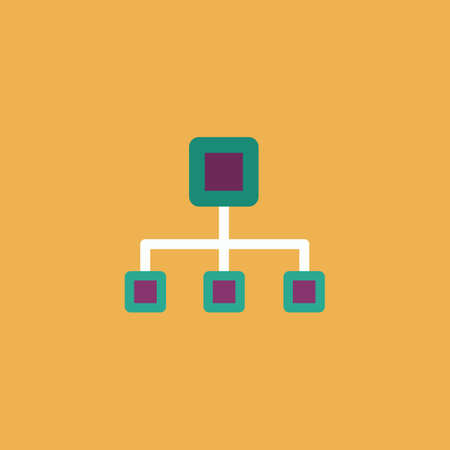 dataset: Network block diagram. Colorful vector icon. Simple retro color modern illustration pictogram. Collection concept symbol for infographic project