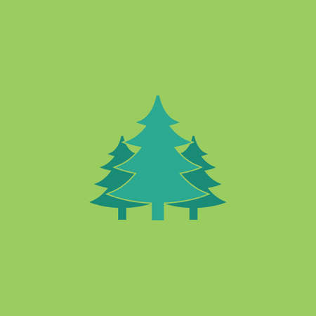 evergreen trees: Tree, Christmas fir tree. Colorful vector icon. Simple retro color modern illustration pictogram. Collection concept symbol for infographic project Illustration