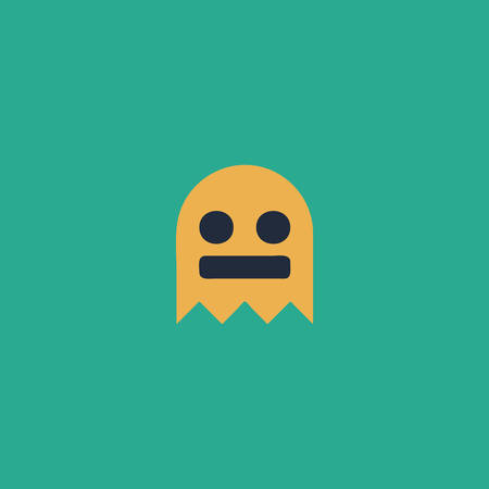 31: Kawaii cute ghost. Colorful vector icon. Simple retro color modern illustration pictogram. Collection concept symbol for infographic project