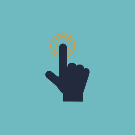 depress: Hand icon pointer - click. Colorful vector icon. Simple retro color modern illustration pictogram. Collection concept symbol for infographic project