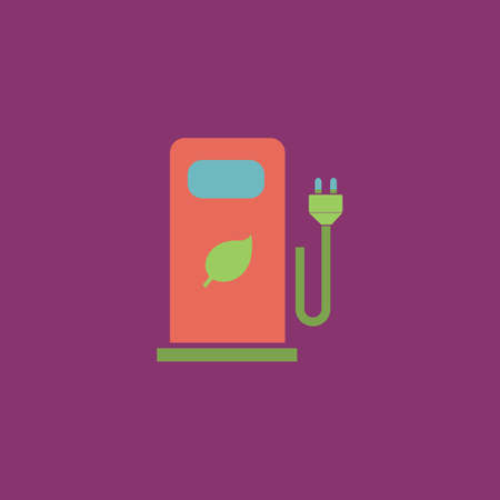 bio fuel: Electric car charging station or Bio fuel petrol. Colorful vector icon. Simple retro color modern illustration pictogram. Collection concept symbol for infographic project