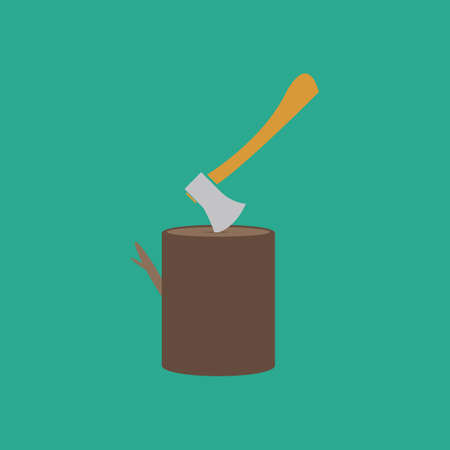 sawdust: Tool lumberjack ax in a wooden deck. Colorful vector icon. Simple retro color modern illustration pictogram. Collection concept symbol for infographic project