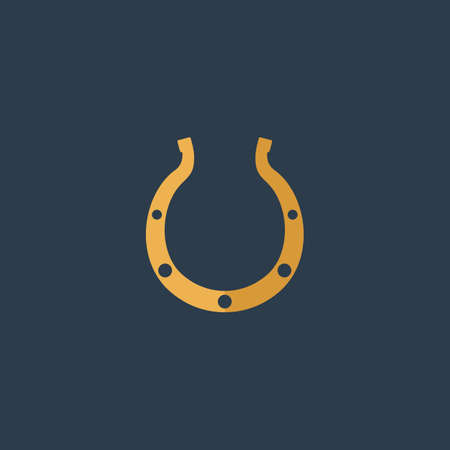 goodluck: Luck Horseshoe. Colorful vector icon. Simple retro color modern illustration pictogram. Collection concept symbol for infographic project