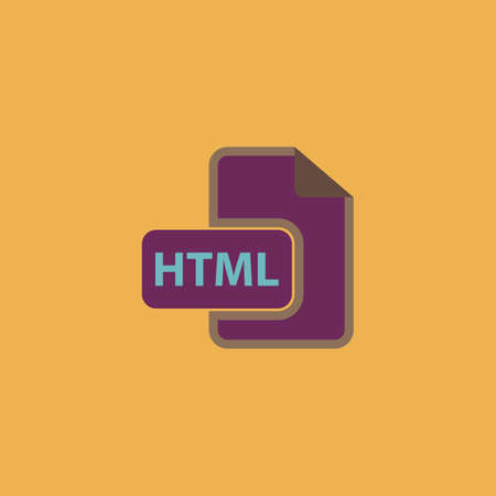 file extension: HTML file extension. Colorful vector icon. Simple retro color modern illustration pictogram. Collection concept symbol for infographic project