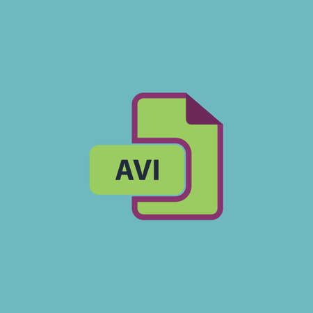 avi: AVI video file extension. Colorful vector icon. Simple retro color modern illustration pictogram. Collection concept symbol for infographic project