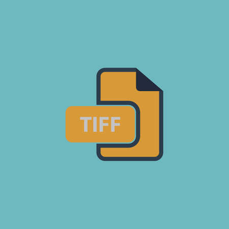 tiff: TIFF image file extension. Colorful vector icon. Simple retro color modern illustration pictogram. Collection concept symbol for infographic project Illustration