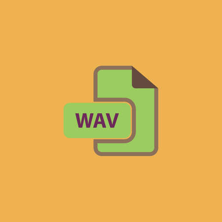 wav: WAV audio file extension. Colorful vector icon. Simple retro color modern illustration pictogram. Collection concept symbol for infographic project