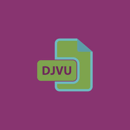 file extension: DJVU ebook file extension. Colorful vector icon. Simple retro color modern illustration pictogram. Collection concept symbol for infographic project