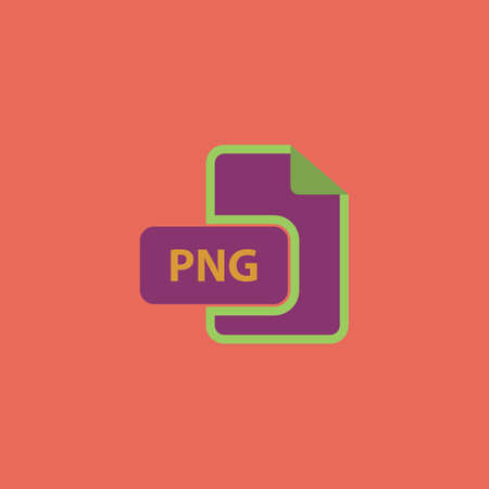 png: PNG image file extension. Colorful vector icon. Simple retro color modern illustration pictogram. Collection concept symbol for infographic project Illustration