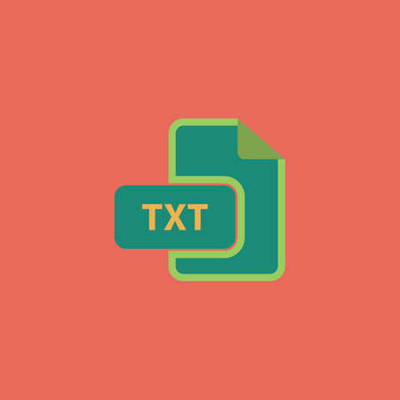 txt: TXT text file extension. Colorful vector icon. Simple retro color modern illustration pictogram. Collection concept symbol for infographic project