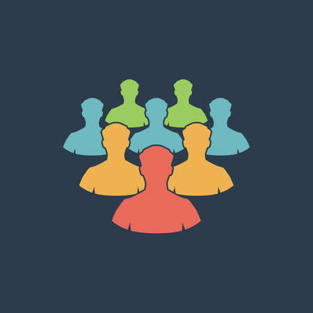 equal opportunity: Crowd of people. Colorful vector icon. Simple retro color modern illustration pictogram. Collection concept symbol for infographic project