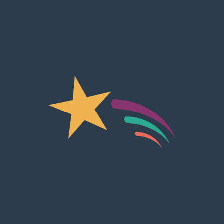 starfall: Shooting star. Colorful vector icon. Simple retro color modern illustration pictogram. Collection concept symbol for infographic project