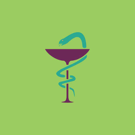 taught: Pharmacy with caduceus, bowl with a snake. Colorful vector icon. Simple retro color modern illustration pictogram. Collection concept symbol for infographic project