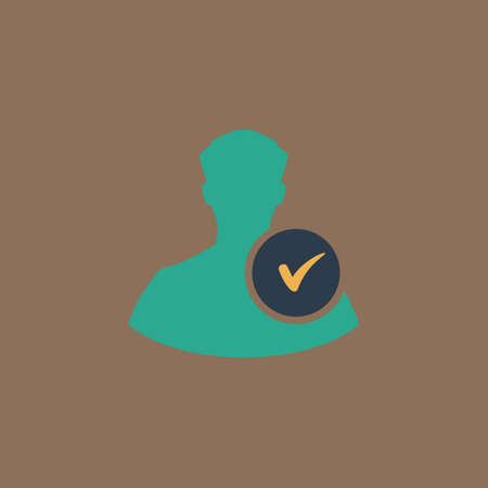 userpic: User profile web with check mark glyph. Colorful vector icon. Simple retro color modern illustration pictogram. Collection concept symbol for infographic project Illustration