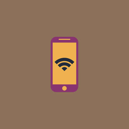 wi fi: Wi fi on your smartphone. Colorful vector icon. Simple retro color modern illustration pictogram. Collection concept symbol for infographic project