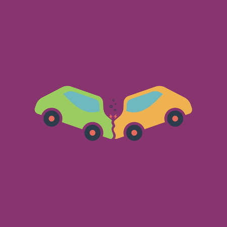 auto accident: Car crash and accidents. Colorful vector icon. Simple retro color modern illustration pictogram. Collection concept symbol for infographic project