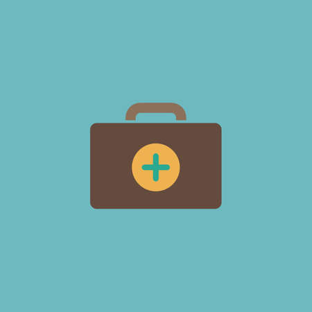 medical box: Medical box. Colorful vector icon. Simple retro color modern illustration pictogram. Collection concept symbol for infographic project