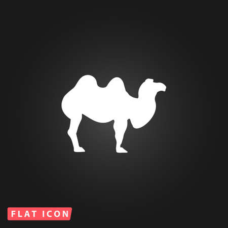 Camel. White flat simple vector icon on black background