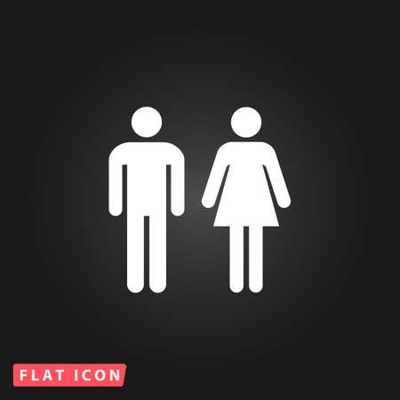 Man and woman - toilet, restroom. White flat simple vector icon on black background Ilustração