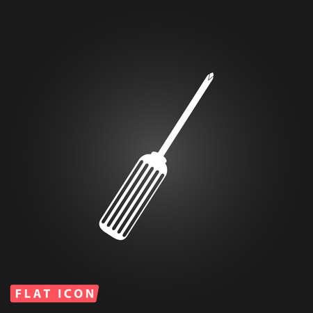 Pocket phillips screwdriver. White flat simple vector icon on black background Illustration