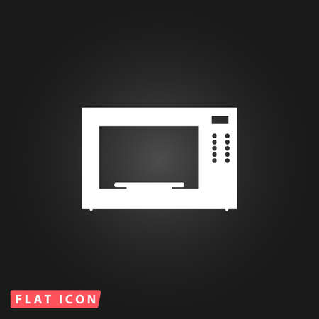microwave: Microwave oven. White flat simple vector icon on black background