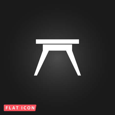 Small table. White flat simple vector icon on black background Illustration