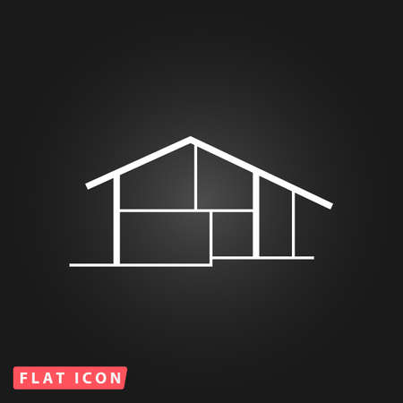 residency: Modern house. White flat simple vector icon on black background