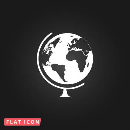 globe terrestre dessin: Globe. Blanc simple plat icône vecteur sur fond noir