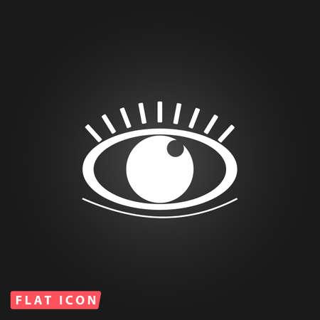 human eye: Human eye. White flat simple vector icon on black background Illustration