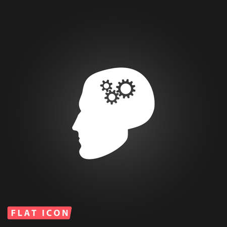 head gear: Human head gear hybrid knowledge. White flat simple vector icon on black background Illustration