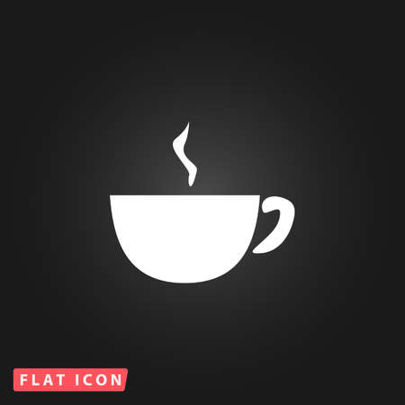 Hot Coffee cup. White flat simple vector icon on black background 向量圖像
