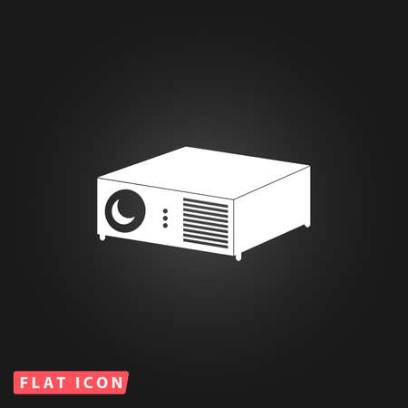 taught: Projector. White flat simple vector icon on black background