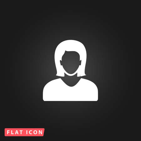 photo icon: Woman avatar profile picture. White flat simple vector icon on black background