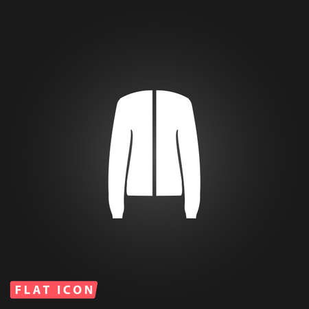 jupe: Jacket. White flat simple vector icon on black background