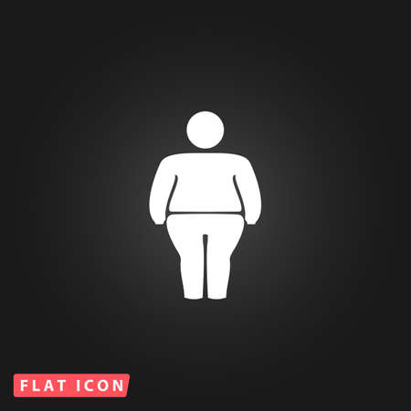 fatness: Overweight man symbol. White flat simple vector icon on black background Illustration