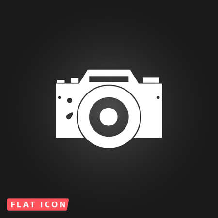 Digital photo camera White flat simple vector icon on black background