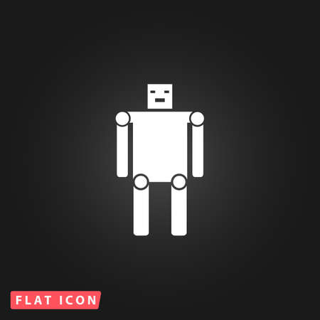 funny robot: Funny robot. White flat simple vector icon on black background