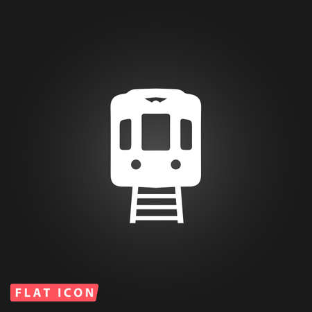 high speed rail: Train subway. White flat simple vector icon on black background