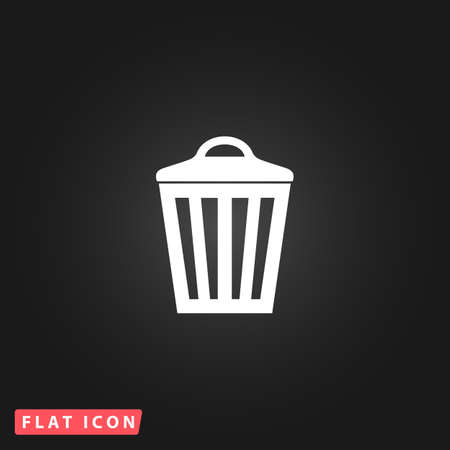 scrapyard: Trash can. White flat simple vector icon on black background