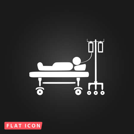 simple life: Life hospitalized. White flat simple vector icon on black background Illustration