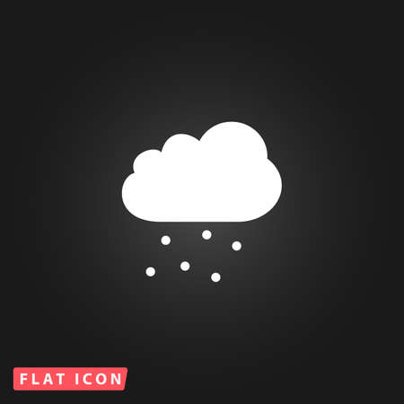 hail: Cloud with hail. White flat simple vector icon on black background