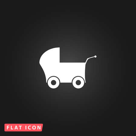 buggy: Buggy. White flat simple vector icon on black background