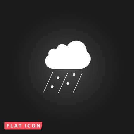 Cloud it is raining and hail. White flat simple vector icon on black background Vektoros illusztráció