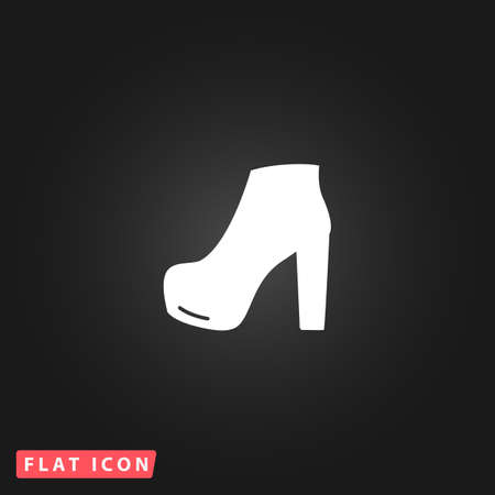 black woman: Woman shoe. White flat simple vector icon on black background Illustration