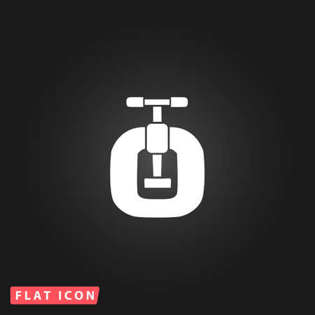 vices: Bench vices. White flat simple vector icon on black background