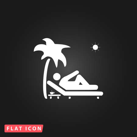deck chair: Man relaxing on a deck chair under palm tree and standing table with a cup of coffee. White flat simple vector icon on black background