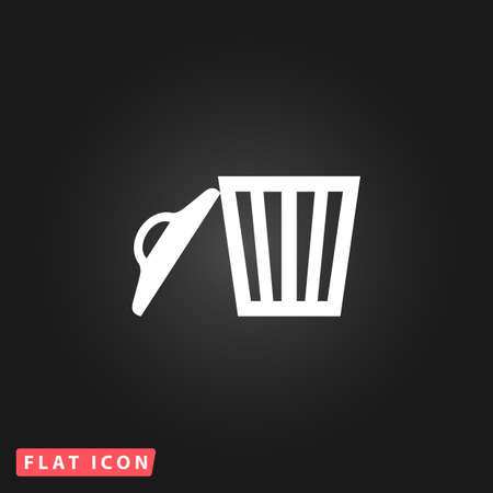 Trash can. White flat simple vector icon on black background