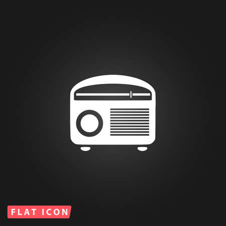 Retro revival radios tuner. White flat simple vector icon on black background